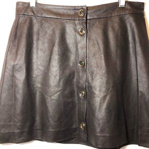 Michael kors faux leather brown skirt